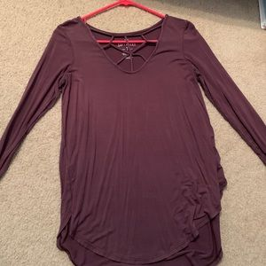 long sleeve maroon shirt with detail